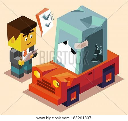 claim for car insurance. vector illustration