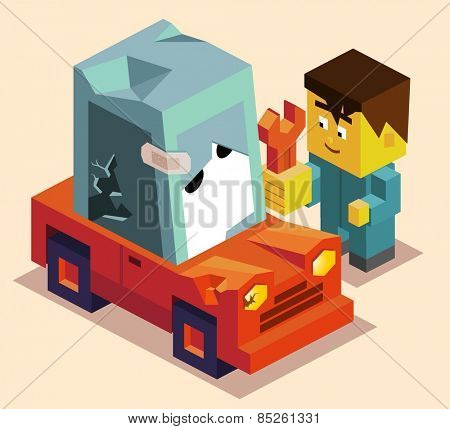 repair the car. vector illustration