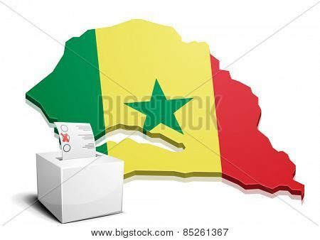 detailed illustration of a ballotbox in front of a map of Senegal, eps10 vector