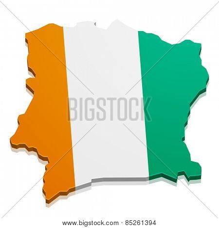 detailed illustration of a map of Ivory Coast with flag, eps10 vector