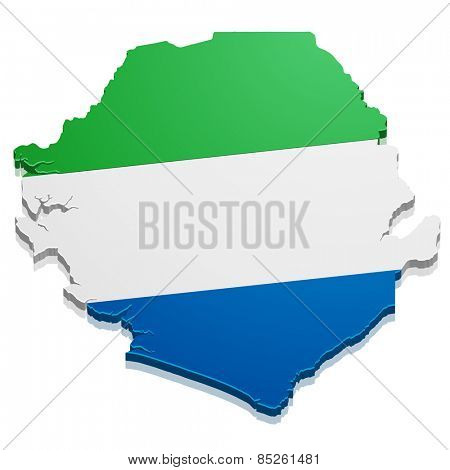 detailed illustration of a map of Sierra Leone with flag, eps10 vector