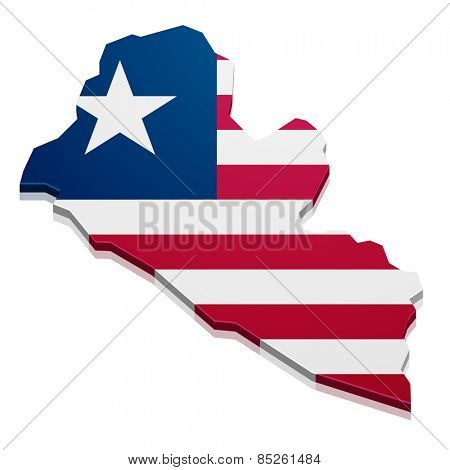 detailed illustration of a map of Liberia with flag, eps10 vector