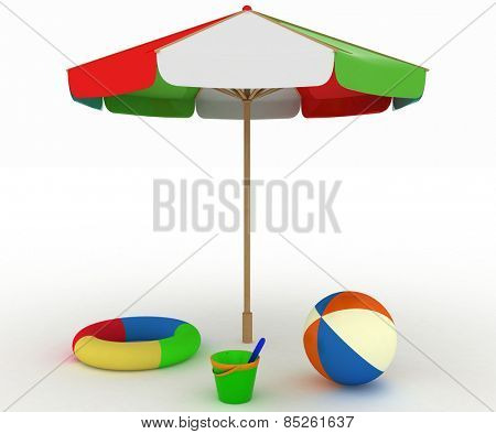 child's toys for a beach under an umbrella