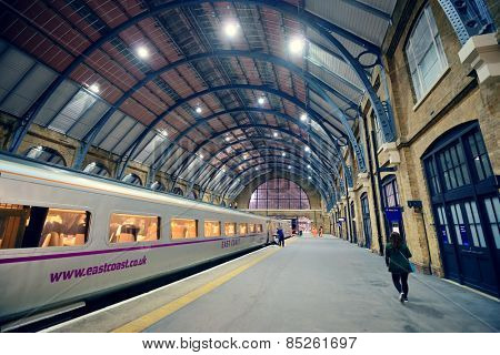 LONDON, UK - SEP 27: Kings Cross railway station interior on September 27, 2013 in London, UK. Opened in 1852, it is the southern terminus of the East Coast Main Line.