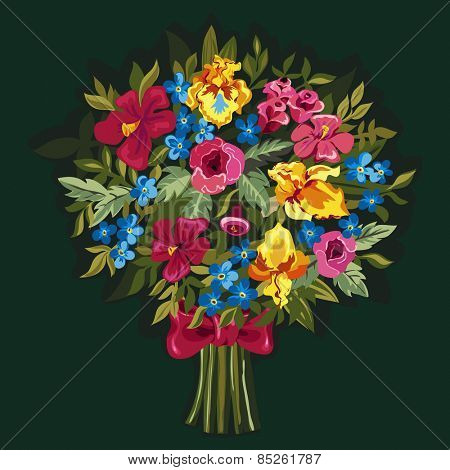 Vector bouquet of pink peonies and roses , yellow irises, blue Forget-me-not, hibiscuses with green leaves.