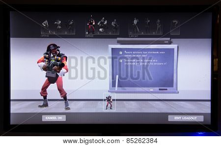 Depew, OK, USA - March 14, 2015: Red Demoman on class selection screen of Team Fortress 2, a team-based first-person shooter multiplayer video game by Valve Corporation, released on October 10, 2007.
