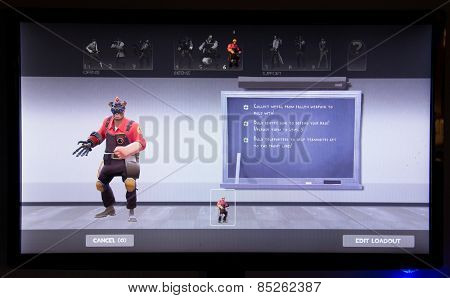 Depew, OK, USA - March 14, 2015: Engineer on class selection screen of Team Fortress 2, a team-based first-person shooter multiplayer video game by Valve Corporation, released on October 10, 2007.