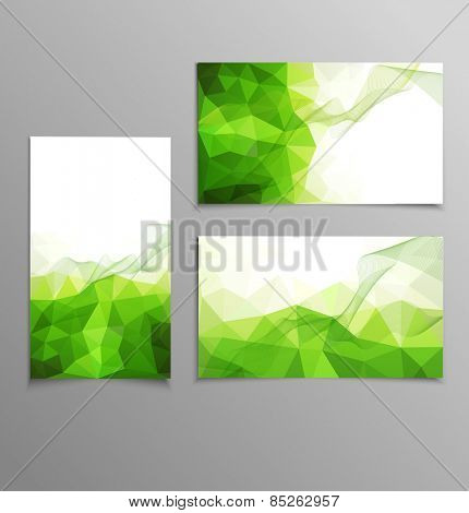 green abstract business card templates