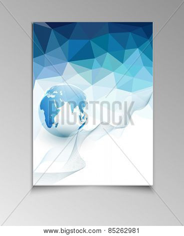 abstract template brochure for business with blue triangles and the globe