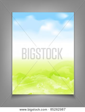 business template with blue sky and green grass