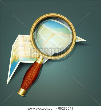 background with a map and a magnifying glass