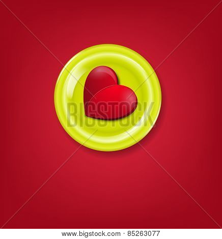 festive creative background for Valentine's day with heart on a plate