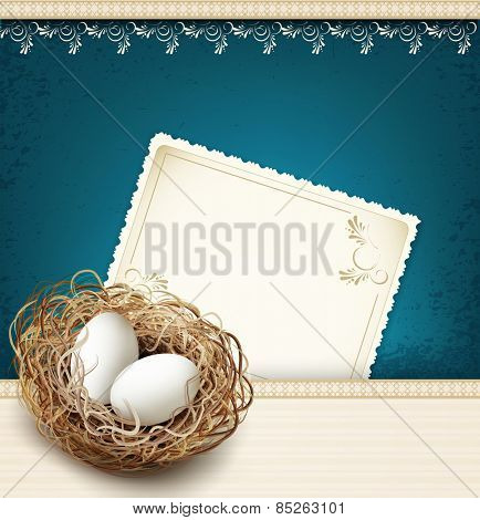 easter, vintage background with a nest and eggs