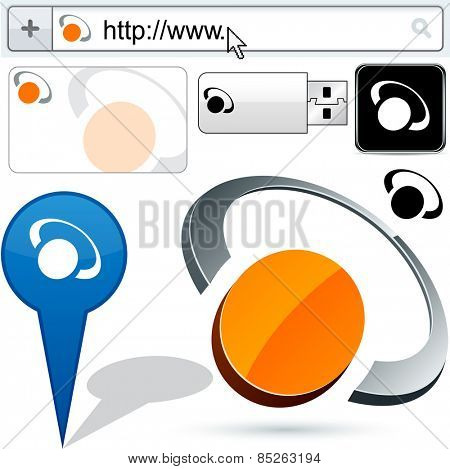 Business ring vector abstract signs represented in different usages.