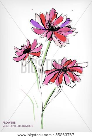 abstract floral watercolor design with stylized red chrysanthemum flowers on white.