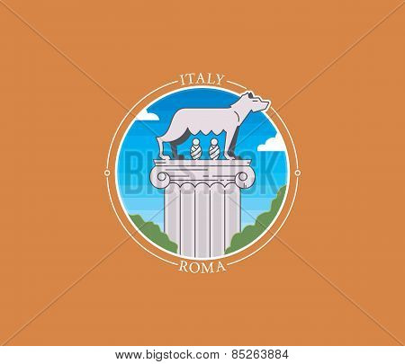 Rome Wolf Vector City Icon