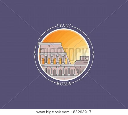 Rome Coliseum Vector City Icon