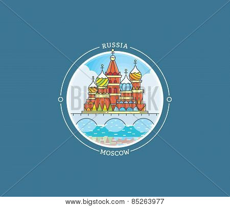 Moscow Basilica Vector City Icon
