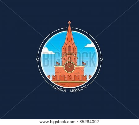 Moscow Kremlin Tower Clock Vector City Icon