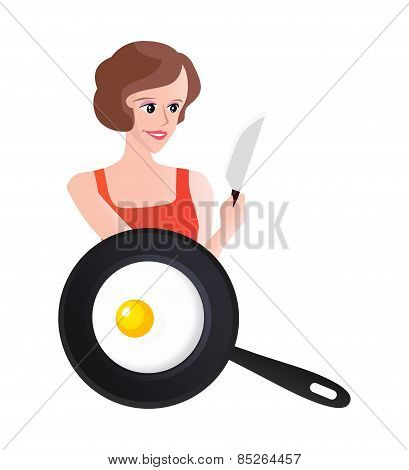 Smiling Woman With Knife End Scrambled Eggs