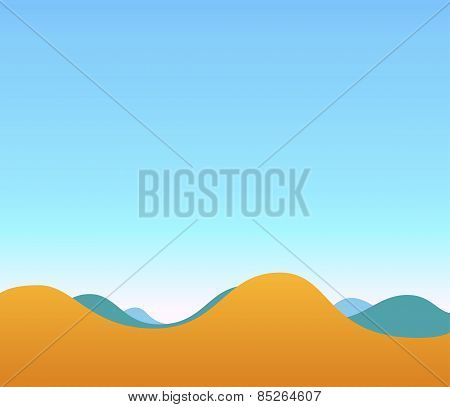 Landscape Illustration Of Hills And Blue Sky