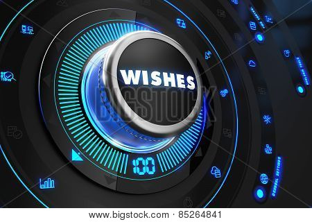 Wishes Button with Glowing Blue Lights.