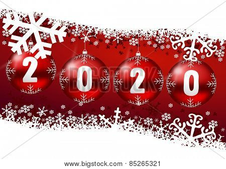 2020 new years illustration with christmas balls and snowflakes on red background