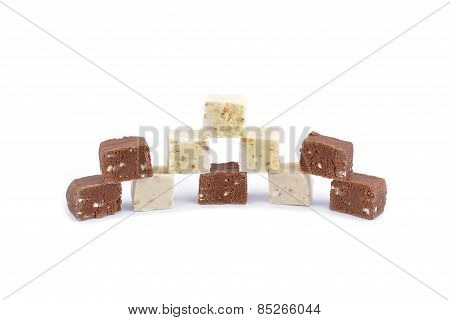 Fresh Homemade Natural Chocolate Bar On White Background