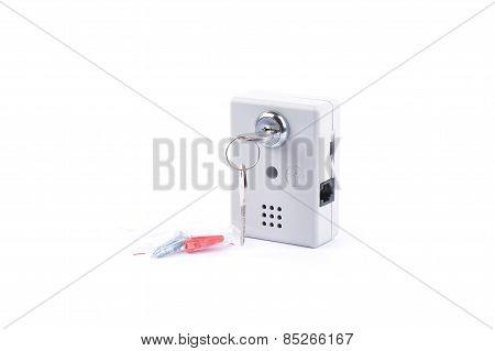Key Lock On White Background