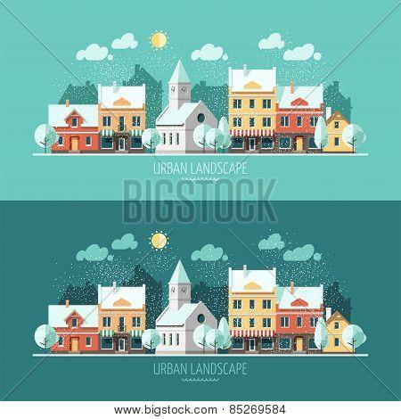 Winter - urban landscape illustration.