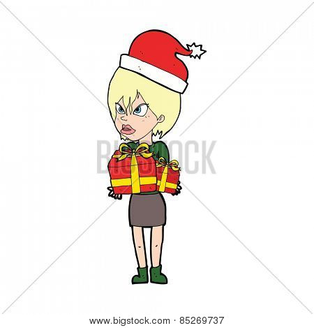 cartoon annoyed woman carrying christmas presents
