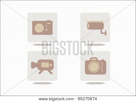 Camera Icons On Grey Background