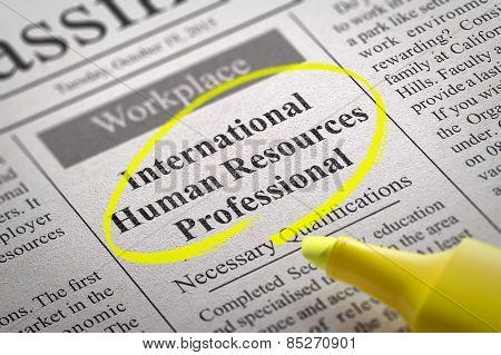 International Human Resources Professional Vacancy in Newspaper.