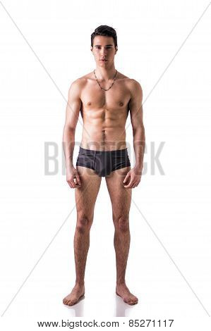 Full Figure Of Fit Young Man In Underwear Isolated On White