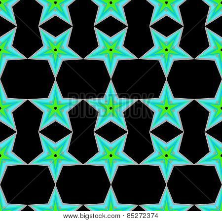 Seamless pattern with a green stars