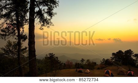 Beautiful twilight time nature background mountains and sky at huai nam dang national park Chiang mai Thailand