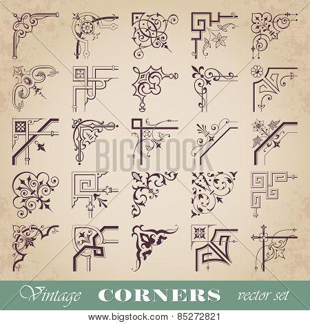 Vector set of 25 calligraphic corners