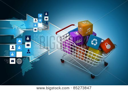 application icon concept in trolley