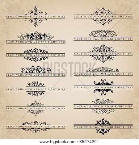 Vector set of 14 ornate headpieces