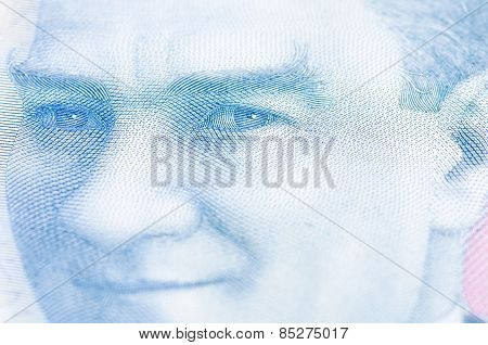 Turkish lira on Ataturk's portrait
