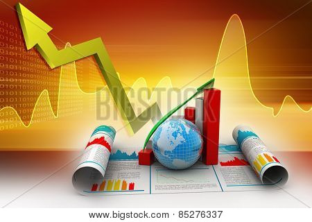 Business growth graph and globe