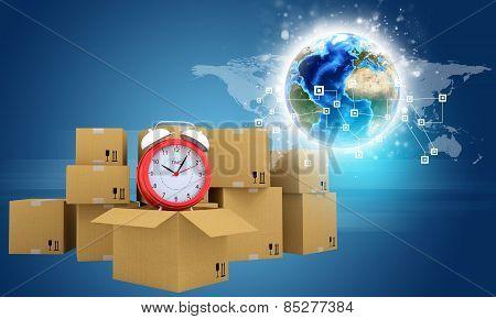 Postal boxes on them alarm clock. Backdrop of earth, gradient dark blue
