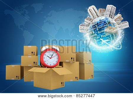 Postal boxes on them alarm clock. Background of ground and aircraft