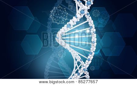 Human DNA. Background of hexagons world map, graph, wire-frame