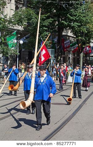 ZURICH - AUGUST 1: Swiss National Day parade on August 1, 2012 in Zurich, Switzerland. Representaives of cantone Glarus in historical costumes.