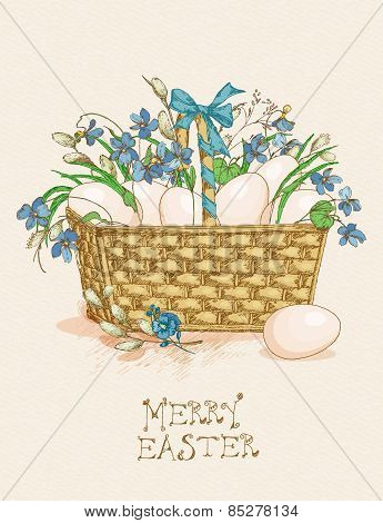 Easter greeting card with egg, flowers on beige background.