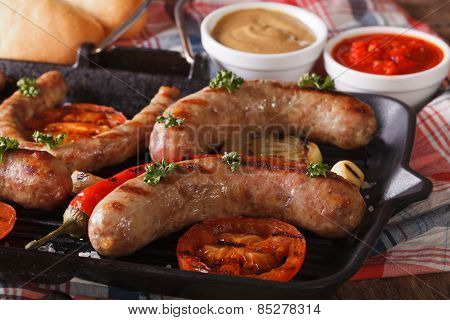 Hotdog Cooking: Grilled Sausages, Vegetables And Buns