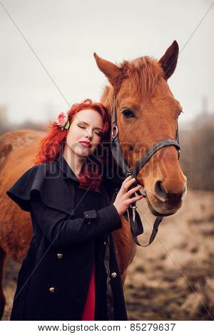 Young Woman And A Horse.