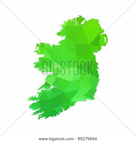 Silhouette Of Ireland On Map
