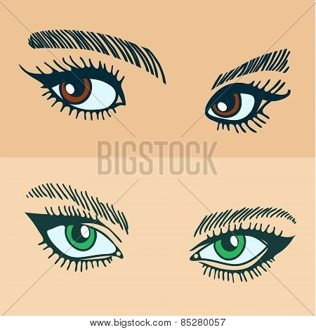 green and brown womens eyes.
